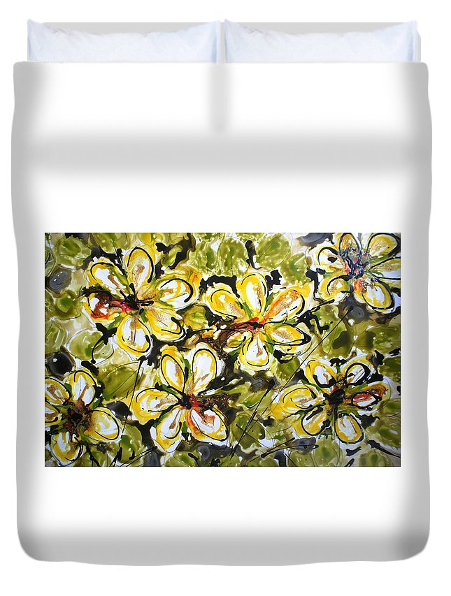 Flowers Duvet Cover featuring the painting Divine Blooms by Baljit Chadha