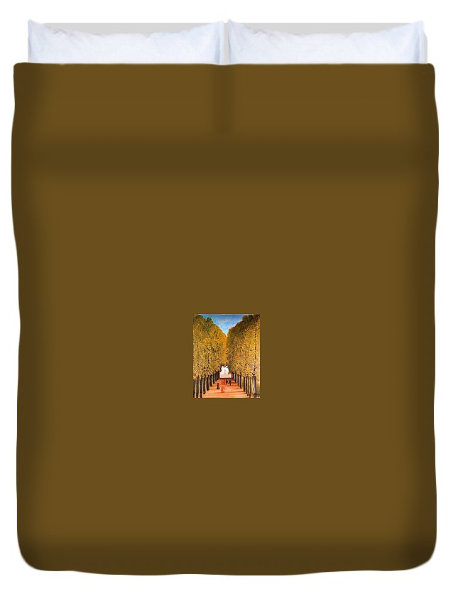 Tree Duvet Cover featuring the digital art 31165 Henri Rousseau by Eloisa Mannion