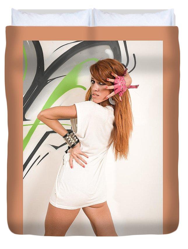 Pretty Duvet Cover featuring the photograph Cool Hip-hop Dancer by Nikita Buida
