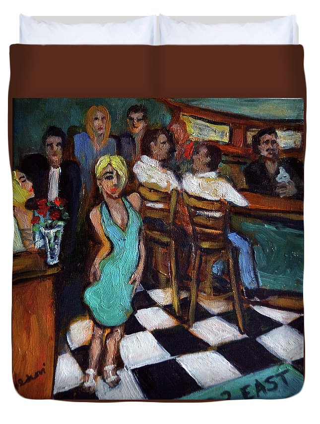Restaurant Duvet Cover featuring the painting 32 East by Valerie Vescovi