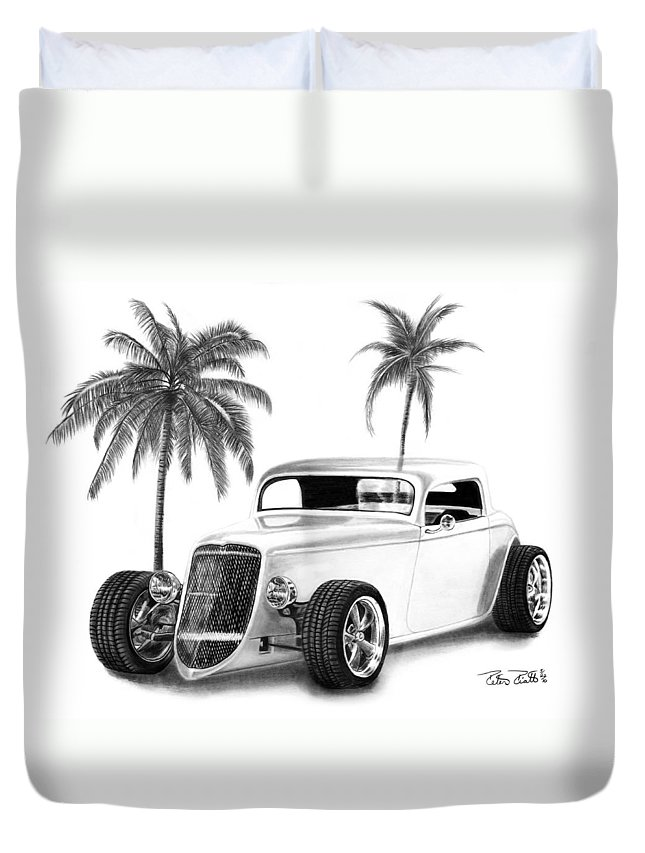 1933 Ford Coupe Duvet Cover featuring the drawing 33 Ford Coupe by Peter Piatt