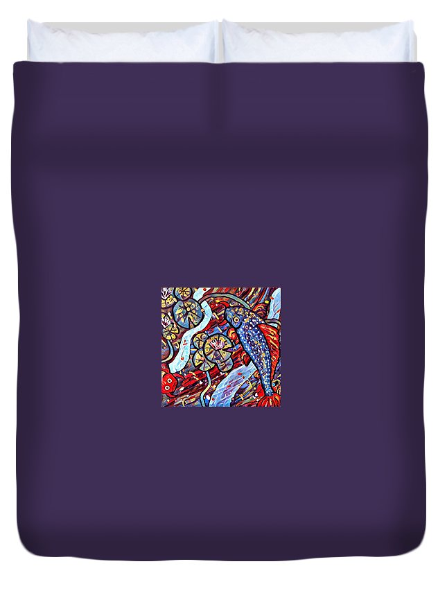 Duvet Cover featuring the digital art Koi Fish by Melinda Sullivan Image and Design