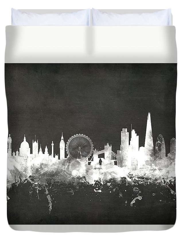 London Duvet Cover featuring the digital art London England Skyline by Michael Tompsett