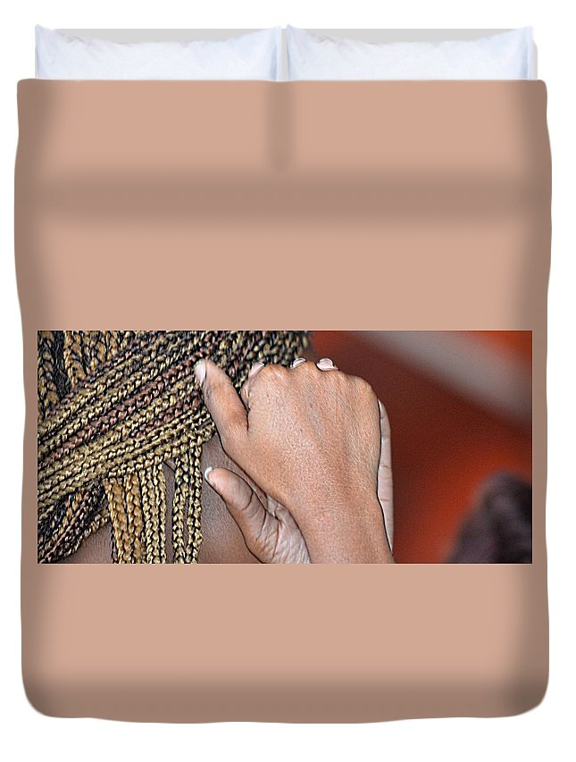 Portrait Duvet Cover featuring the photograph Braids/roatan People by Gianni Bussu