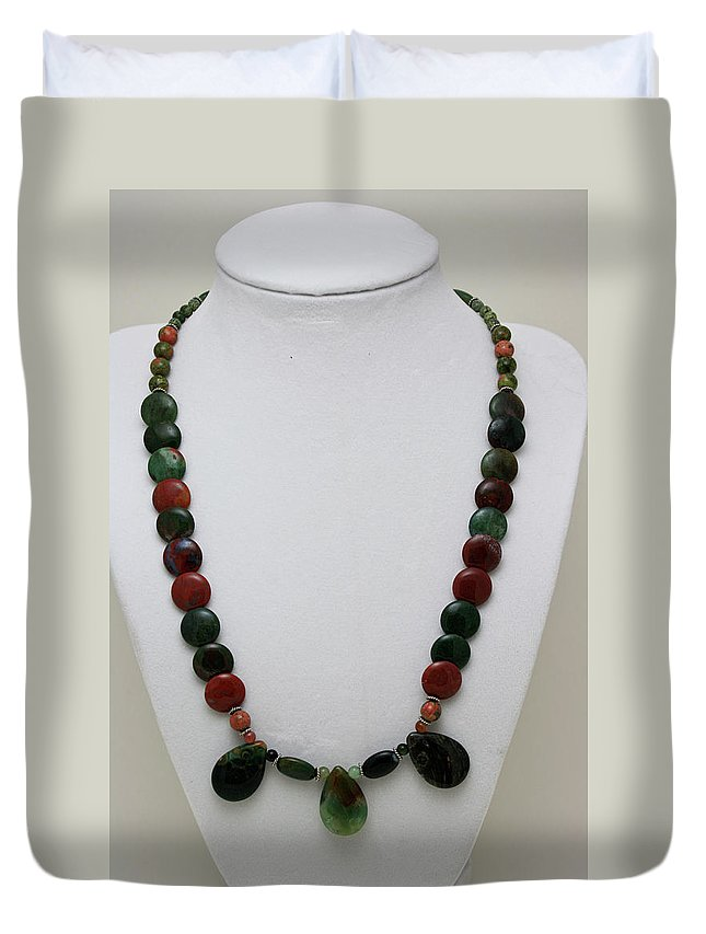 Handmade Duvet Cover featuring the jewelry 3505 Fancy Jasper And Unakite Necklace by Teresa Mucha