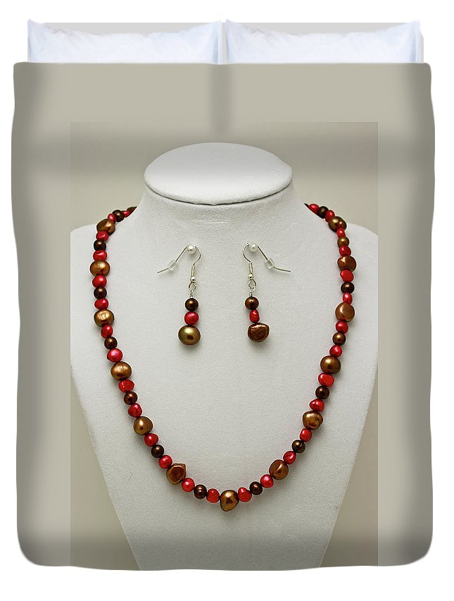 Handmade Duvet Cover featuring the jewelry 3536 Freshwater Pearl Necklace And Earring Set by Teresa Mucha