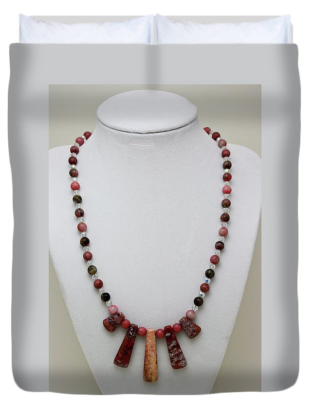 Handmade Duvet Cover featuring the jewelry 3541 Rhodonite And Jasper Necklace by Teresa Mucha