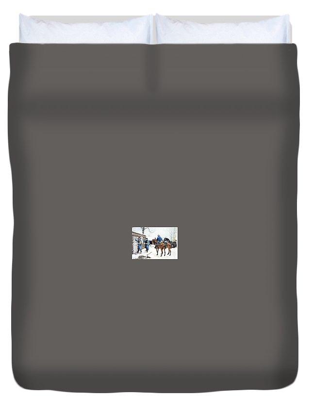 Horse Duvet Cover featuring the digital art 35424 Frederick Remington by Eloisa Mannion