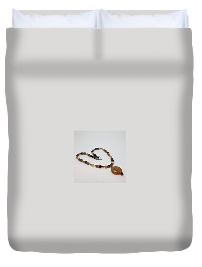 Handmade Duvet Cover featuring the jewelry 3574 Coffee Onyx Necklace by Teresa Mucha