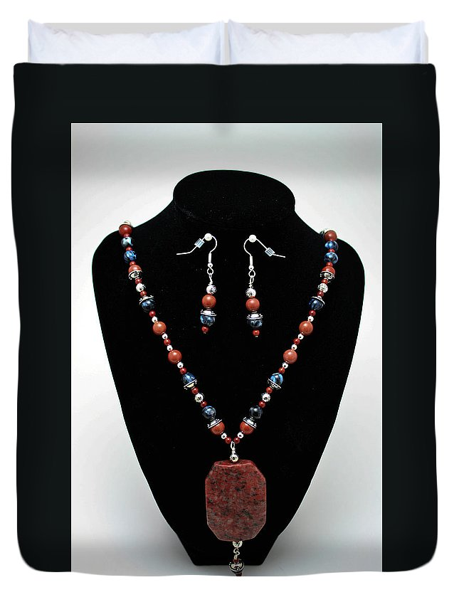 Handmade Duvet Cover featuring the jewelry 3578 Jasper And Agate Long Necklace And Earrings Set by Teresa Mucha