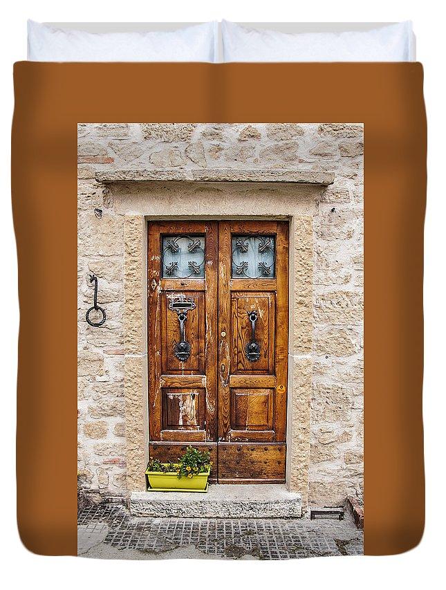 Door Duvet Cover featuring the photograph Italian Door by Enrico Della Pietra