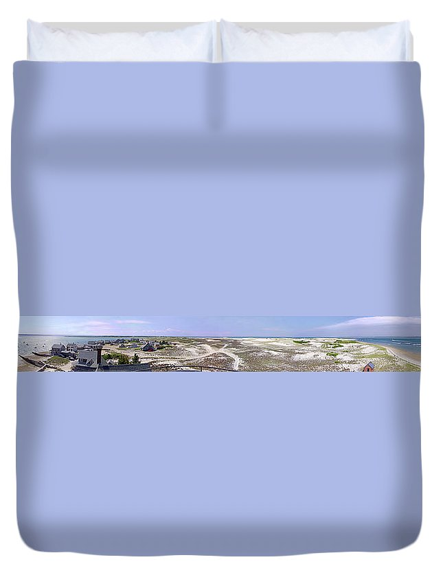 Panorama Duvet Cover featuring the photograph 360 Panorama Of Sandy Neck by Charles Harden