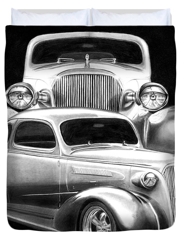 1937 Chevrolet Coupe Duvet Cover featuring the drawing 37 Double C by Peter Piatt
