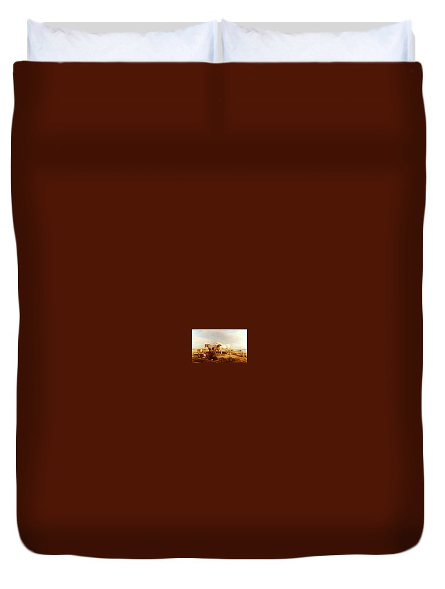Ranch Duvet Cover featuring the digital art Willis Henry Brittan Horses And Cattle On The Shore Henry Brittan Willis by Eloisa Mannion