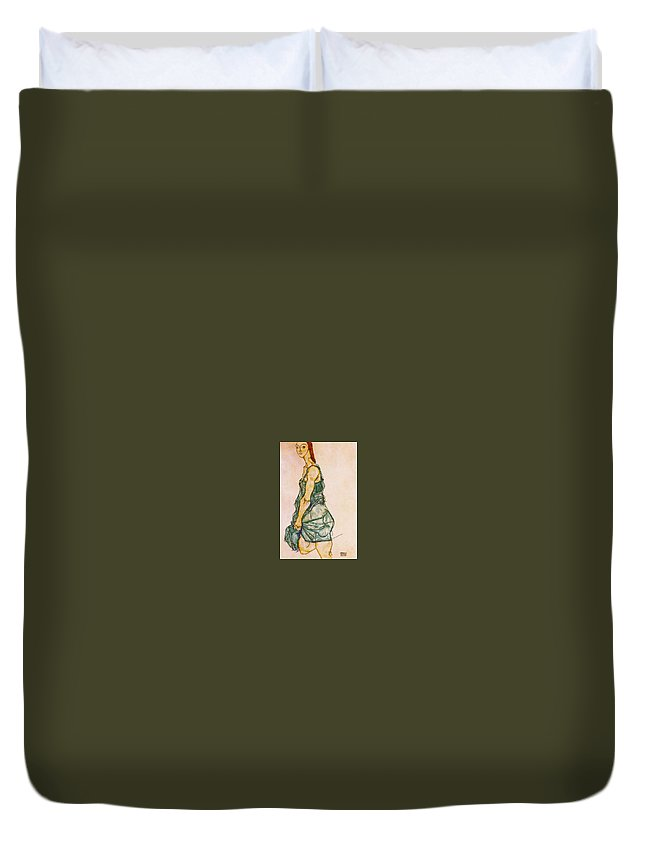 Sketch Duvet Cover featuring the digital art 37927 Egon Schiele by Eloisa Mannion