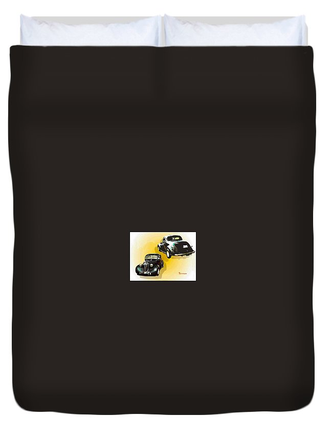 Autos Duvet Cover featuring the photograph '38 Plymouth by Sadie Reneau