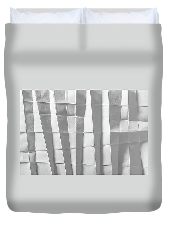 Abstract Duvet Cover featuring the photograph White Folded Paper by Alain De Maximy