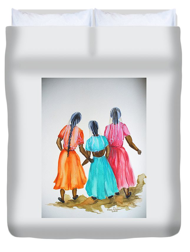 Three Ladies East Indian Duvet Cover featuring the painting 3bff by Karin Dawn Kelshall- Best