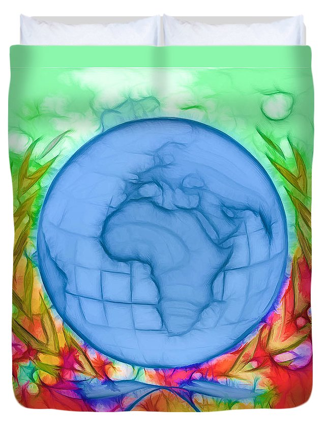 3d Render Of Planet Earth Duvet Cover featuring the digital art 3d Render Of Planet Earth 17 by Jeelan Clark