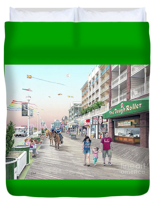 Dough Roller Duvet Cover featuring the drawing 3rd Street Ocean City Md by Albert Puskaric