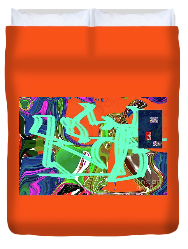 Walter Paul Bebirian Duvet Cover featuring the digital art 4-19-2015b by Walter Paul Bebirian