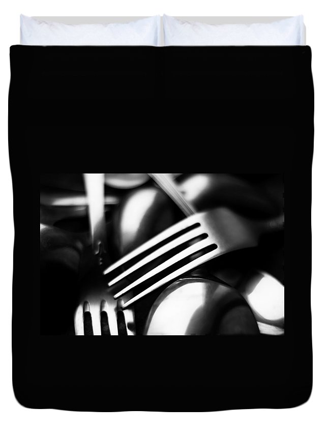 Abstract Duvet Cover featuring the photograph Abstract Black And White Forks by Alain De Maximy