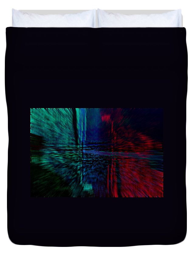 Abstract Red Blue Duvet Cover featuring the digital art Abstract by Galeria Trompiz
