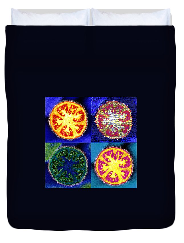Tomatoes Duvet Cover featuring the photograph 4 Abstract Tomatoes by Nancy Mueller