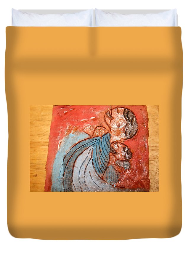 Jesus Duvet Cover featuring the ceramic art Akaweese - Tile by Gloria Ssali