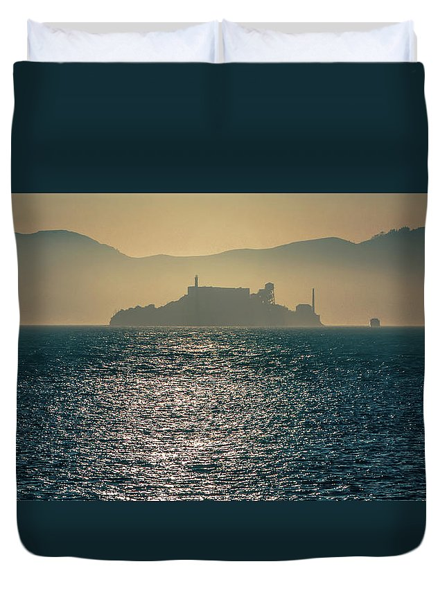 Island Duvet Cover featuring the photograph Alcatraz Island Prison San Francisco Bay At Sunset by Alex Grichenko