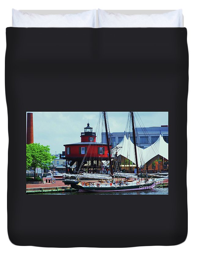 Baltimore Art Lighthouse Pier Six Shot Tower Skipkack Boat Art Urban Tree Outdoors Travel Tourism History Dock Tranquil Landmarks Harbor Iconic Buildings Tourism Concert Venue Canvas Print Suggested Metal Frame Poster Print Available On Weekender Tote Bags T Shirts Tote Bags Shower Curtains Duvet Covers Pouches And Phone Cases Duvet Cover featuring the photograph 4 Baltimore Icons In One Shot by Marcus Dagan