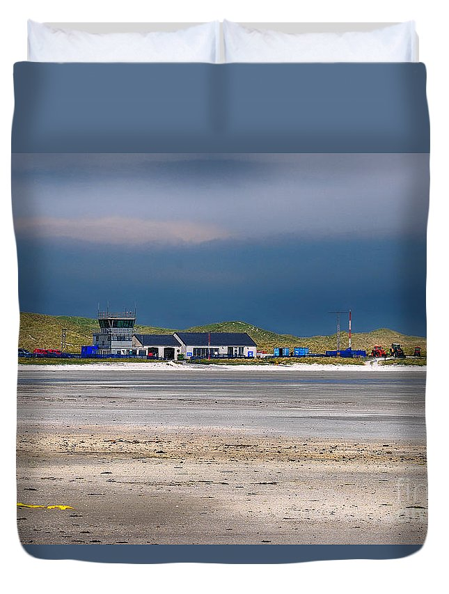 Barra Duvet Cover featuring the photograph Barra Airport by Smart Aviation