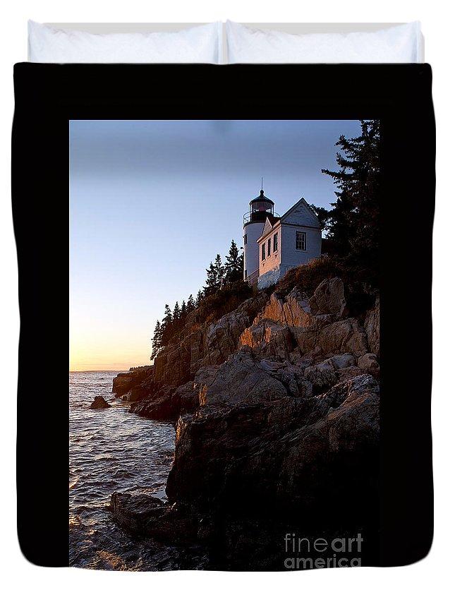 Bass Harbor Duvet Cover featuring the photograph Bass Harbor Head Lighthouse Acadia National Park by Jason O Watson