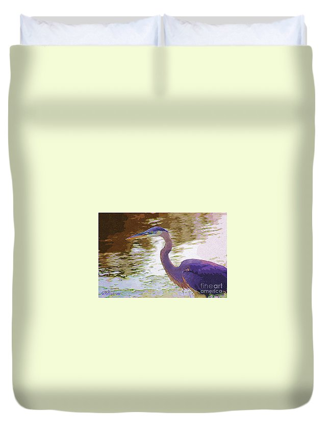 Blue Heron Duvet Cover featuring the photograph Blue Heron by Donna Bentley