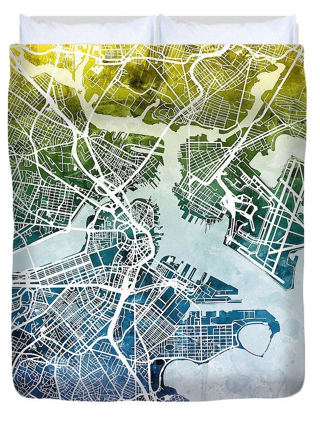 Street Map Duvet Cover featuring the digital art Boston Massachusetts Street Map by Michael Tompsett