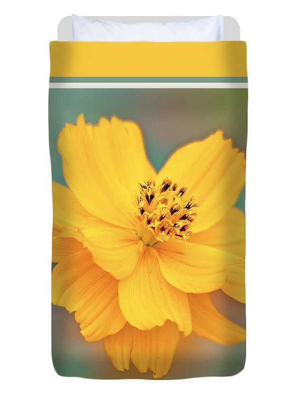 Cosmos Duvet Cover featuring the photograph Cosmos Flower In Full Bloom by A Gurmankin
