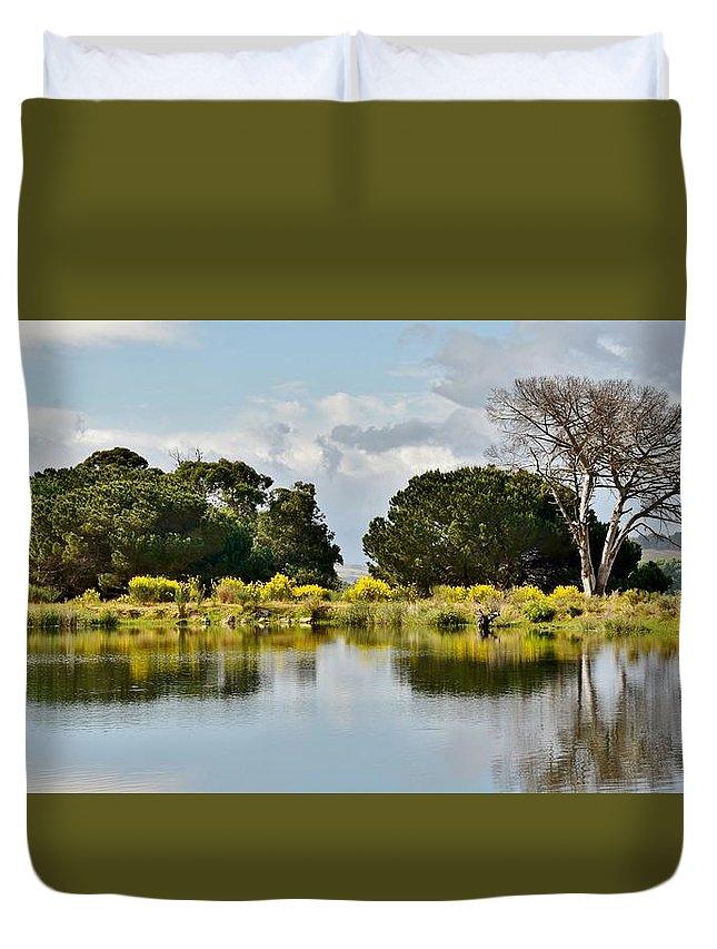 Landscape; Dead; Tree; Little Lake; Water; Sky; Clouds; Blue; Green; Winelands; Stellenbosch; South Africa; Reflection; Plants; Grass; Trees; Rural; Farmland; Werner Lehmann; Duvet Cover featuring the photograph dead Tree by Werner Lehmann