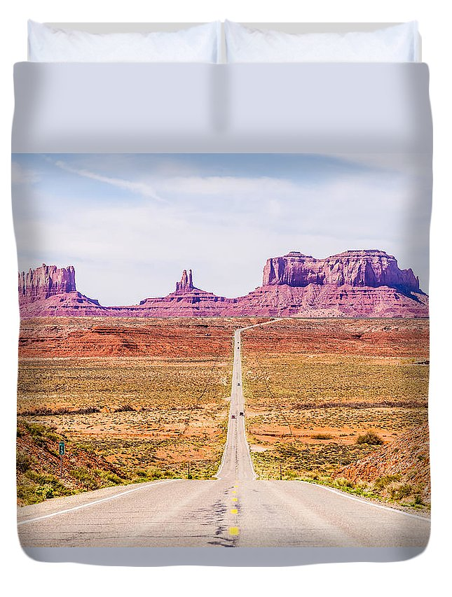 Valley Duvet Cover featuring the photograph descending into Monument Valley at Utah Arizona border by Alex Grichenko