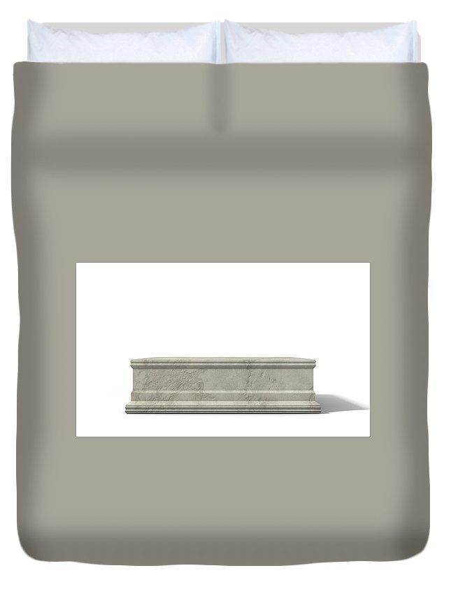 Trophy Duvet Cover featuring the digital art Empty Trophy Base by Allan Swart