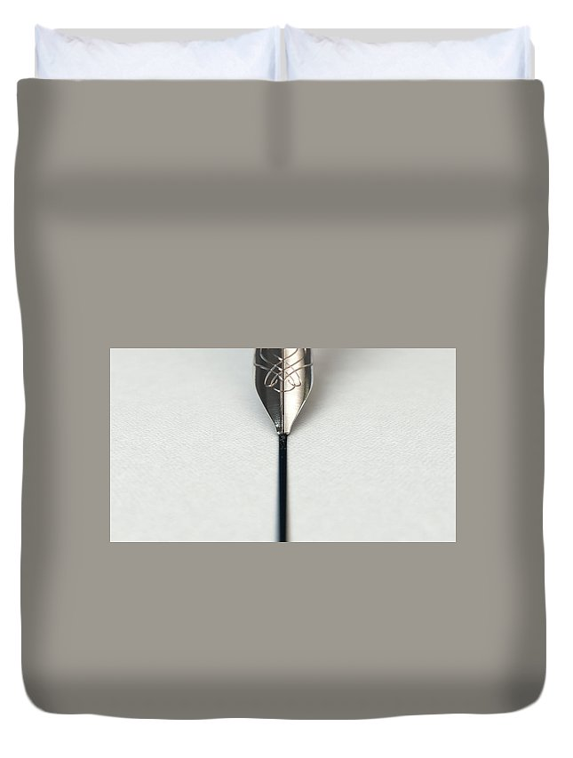 Pen Duvet Cover featuring the digital art Fountain Pen Drawing Line by Allan Swart