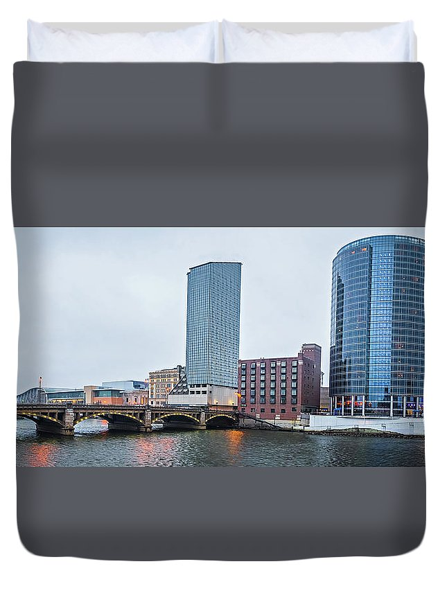 Grand Duvet Cover featuring the photograph Grand Rapids Michigan City Skyline And Street Scenes by Alex Grichenko