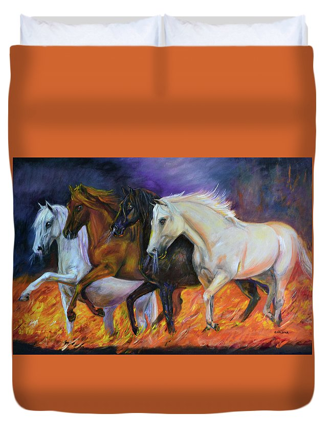 Horse Duvet Cover featuring the painting 4 Horses Of The Apocalypse by Olga Kaczmar
