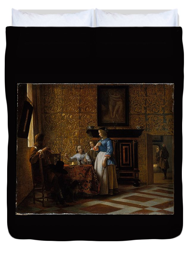 Pieter De Hooch Leisure Time In An Elegant Setting Duvet Cover featuring the painting Leisure Time In An Elegant Setting by Pieter de Hooch