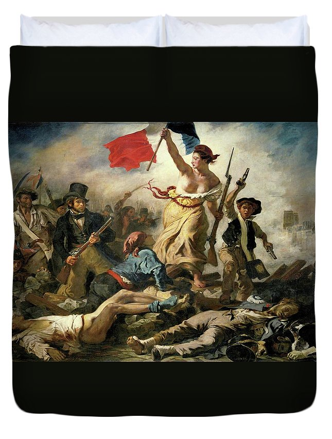 Eugene Delacroix Duvet Cover featuring the painting Liberty Leading The People by Eugene Delacroix
