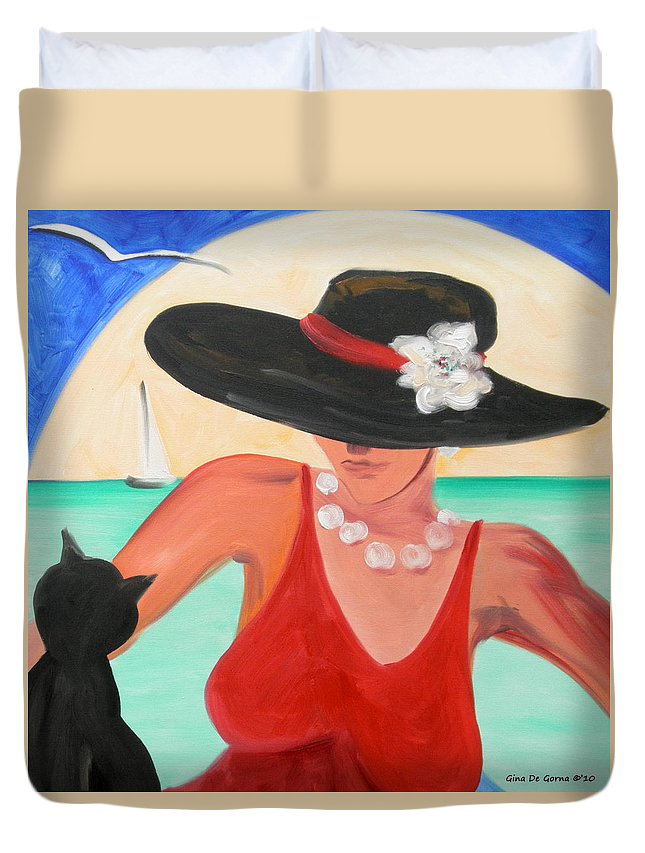 Lady Duvet Cover featuring the painting Living the Dream by Gina De Gorna