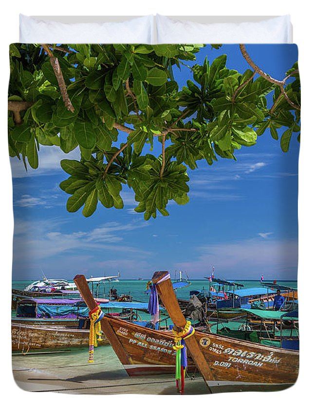 Copy Space Duvet Cover featuring the photograph Long-tail Boats, The Andaman Sea And Hills In Ko Phi Phi Don, Th by Travel and Destinations - By Mike Clegg