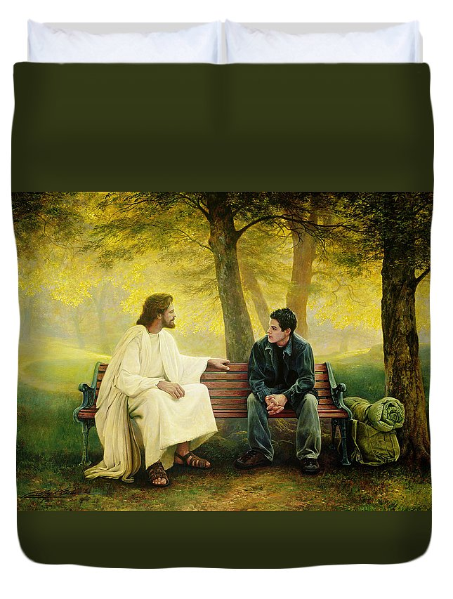 Jesus Duvet Cover featuring the painting Lost And Found by Greg Olsen