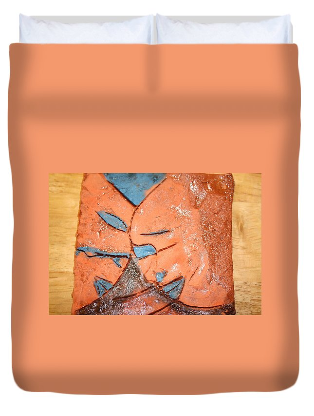 Jesus Duvet Cover featuring the ceramic art Mask - Tile by Gloria Ssali