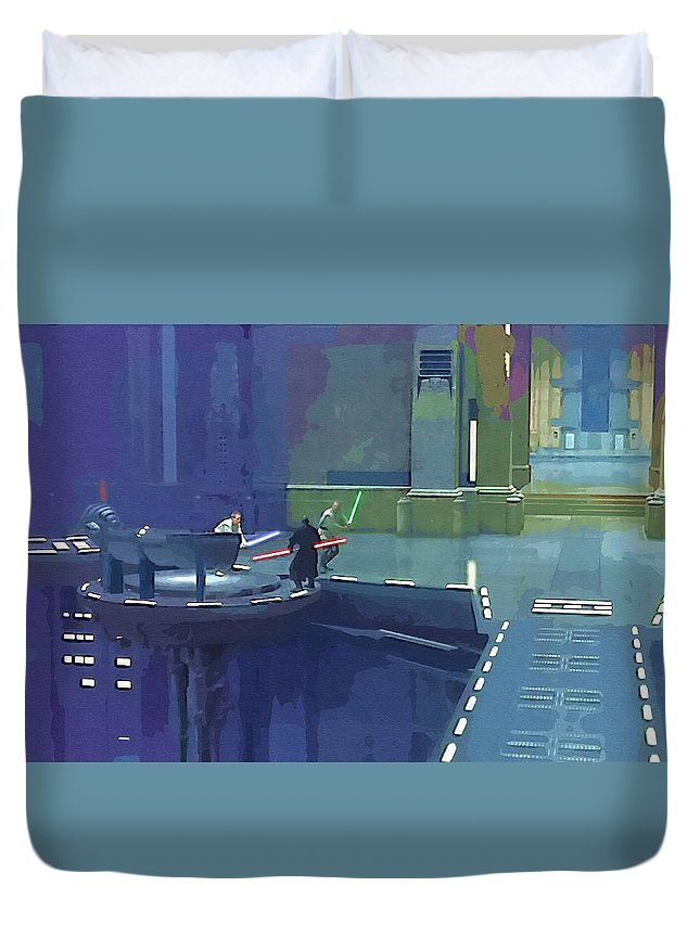 Star Wars Movie Duvet Cover featuring the digital art Movies Star Wars Art by Larry Jones