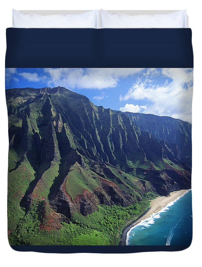 Aerial Duvet Cover featuring the photograph Na Pali Coast Aerial by Bob Abraham - Printscapes